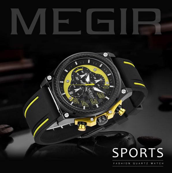 MEGIR Sport Men Wristwatch Top Brand Luxury Quartz Wristwatch Silicone Army Military Wristwatches  Men Chronograph
