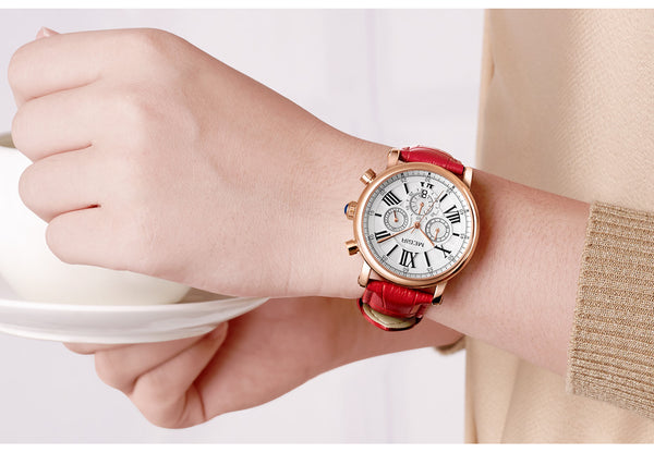 Luxury Brand MEGIR Chronograph Sport Wristwatches Women Braceleto Ladies Lovers Quartz Wrist Wristwatch Women 2058