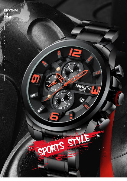 NIBOSI  Mens Wristwatches Luxury Top Brand Quartz Wrist Wristwatch Creative Big Dial Stainless Steel Sport Wristwatch Men