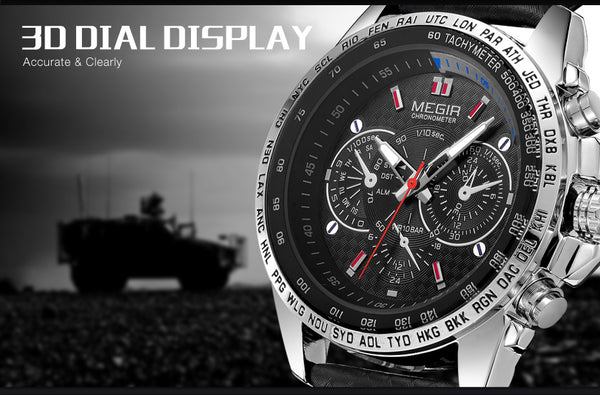 MEGIR Military Wristwatch Men  Fashion Luminous Army Wristwatches Hour Waterproof Men Wrist Wristwatch xfcs 1010