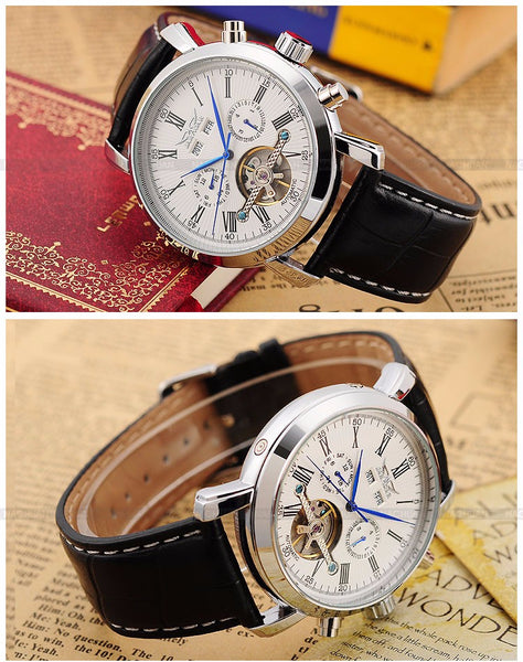 JARAGAR Complete Calendar Male Wristwatches Leather Strap Erkek Saati Mechanical Wristwatch Man Reloj Hombre