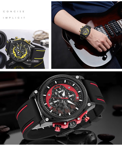 Creative MEGIR Chronograph Sport Wristwatch Men Silicone Army Military Wrist Wristwatches  Men Top Brand Luxury
