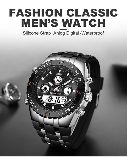 GOLDENHOUR Men Sport Watches Analog Digital Dual Display Man Fashion Outdoor Military Black Rubber Wristwatch Luminous