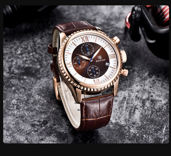 BENYAR Men's Wristwatch Fashion/Sport/Quartz Wristwatch Men Wristwatch Mens Top Brand Luxury Leather Wristwatches Men