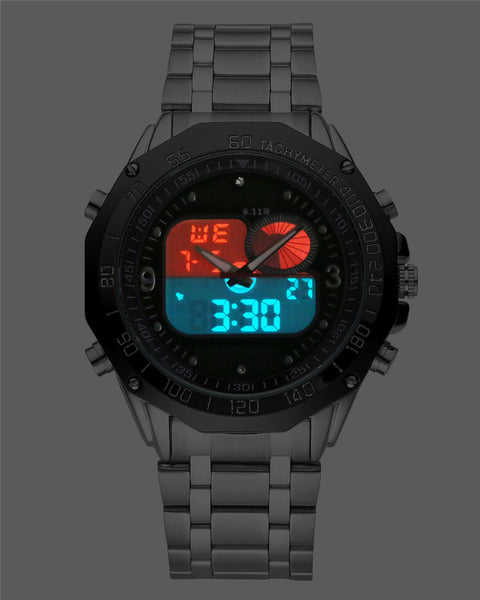6.11 New Solar Power Sports Watches Men Watch Dual Time Zone LED Digital Quartz Watches Men Stainless Steel Relogio Masculino