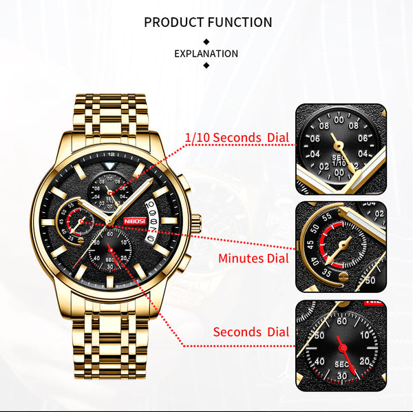 NIBOSI  New Brand Quartz Wristwatch Men Sport Wristwatches Men Steel Band