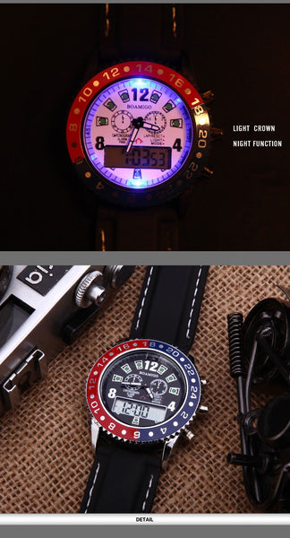 watches men luxury brand BOAMIGO military army sports watches Dual Time Quartz Digital Wristwatch rubber band wristwatches F503