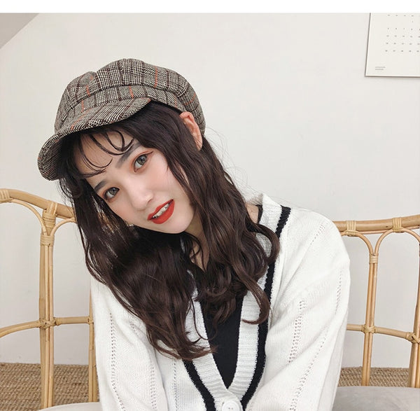 COKK Stylish Cap Men Women Beret Plaid Octagonal Hats For Autumn Winter Casual Painter Beret
