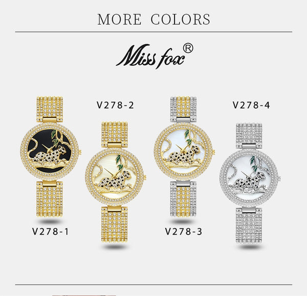 MISSFOX Women Watches Women Luxury Brand Fashion Black Leopard Gold Watch Diamond Womens Watches Top Brand Female Wrist Watch