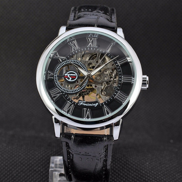 FORSINING 3d Logo Design Hollow Engraving Black Gold Case Skeleton Mechanical Men Wristwatches Heren Leather Strap Heren Horloge