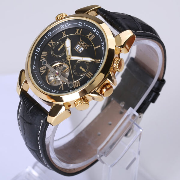 Jaragar Men's Famous Mens Wristwatches Top Brand Luxury Day/Week Tourbillon Automatic Mechanical Wristwatches Wristwatch Gift Box