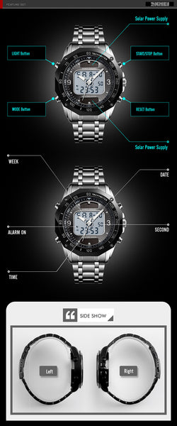 SKMEI Men's Wristwatches Solar Sports Digital Quartz Wristwatch Men Full Steel Waterproof LED Wrist Wristwatch relogio masculino  SKMEI