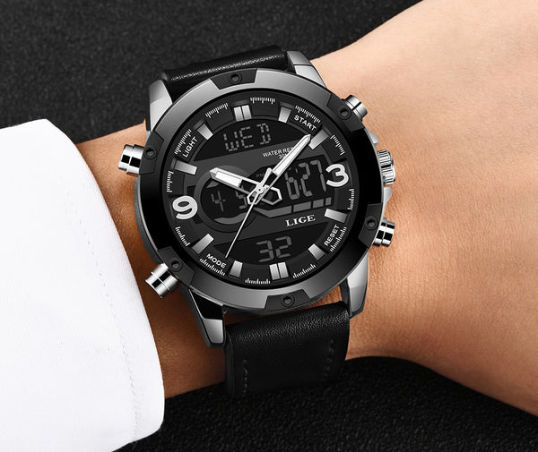 LIGE New Mens Wristwatches Top Luxury Brand Men Leather Sports Wristwatches Men's LED Digital Quartz Waterproof Military Wrist Wristwatch