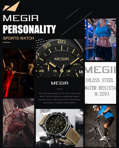 MEGIR Chronograph Sport Quartz Wristwatch Men Dual Time Zone Men Wrist Wristwatches Creative Leather Army Military Wristwatches Hour