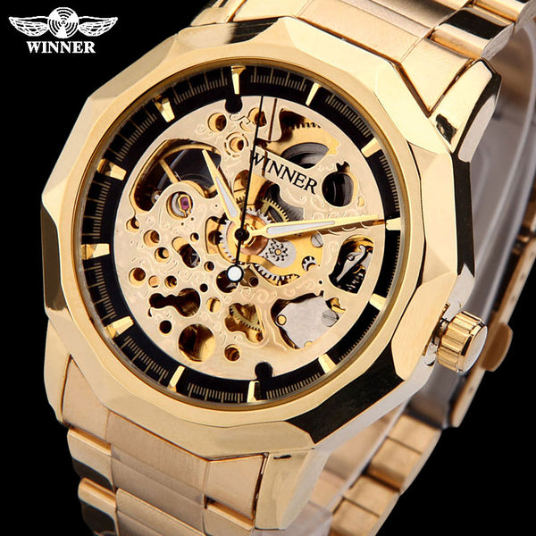 WINNER brand Wristwatches men mechanical skeleton  Wristwatches fashion casual automatic wind Wristwatch gold steel band
