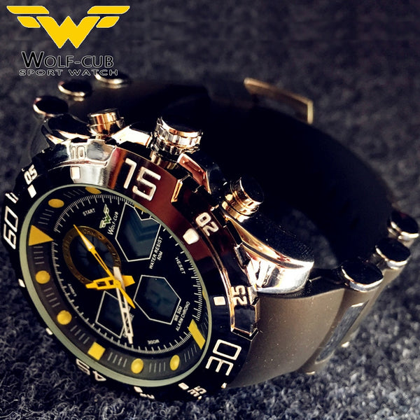 Sport Wristwatch Brand Auto Date Day LED Alarm Black Blue Silicone Band Analog Quartz Military Men Digital Wristwatches WOLF-CUB 6 color
