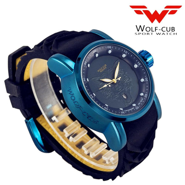 HOT Wolf-cub American latest men design original stainless steel large dial 30 meters waterproof