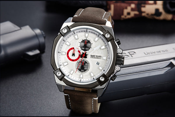 Top Brand MEGIR Sport Wristwatch Men   Fashion Chronograph Quartz Army Military Wrist Wristwatches Reloj Hombre 2054