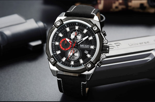 MEGIR Men Sport Wristwatch Brand Chronograph Army Military Quartz Wristwatches Men Leather Wristwatch Reloj Hombre