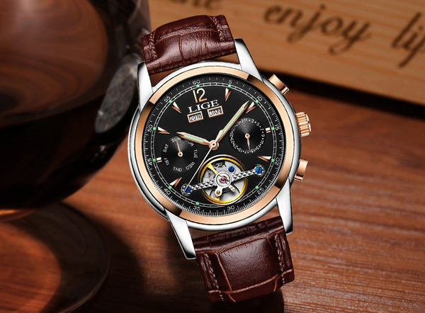 relogio masculino Mens Watches Top Brand Luxruy LIGE Automatic Watch Men Waterproof Sport  Man Leather Business Wrist watch