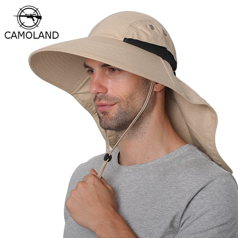 Summer Sun Hat Men Women Cotton Boonie Hat with Neck Flap Outdoor UV Protection Large Wide Brim Hiking Fishing Safari Bucket Hat