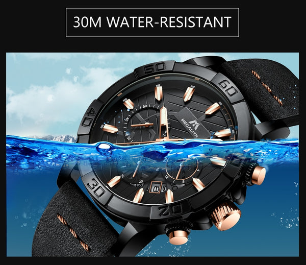 montre homme  MEGALITH watches mens sport chronograph waterproof watch men top brand luxury luminous leather wristwatch men