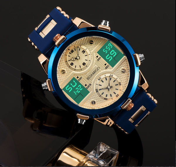 BOAMIGO Men's Quartz LED Digital 3 Time zones Mens Wristwatches Top Luxury Brand Sports Wristwatches Male Gold Military Wrist Wristwatch Men
