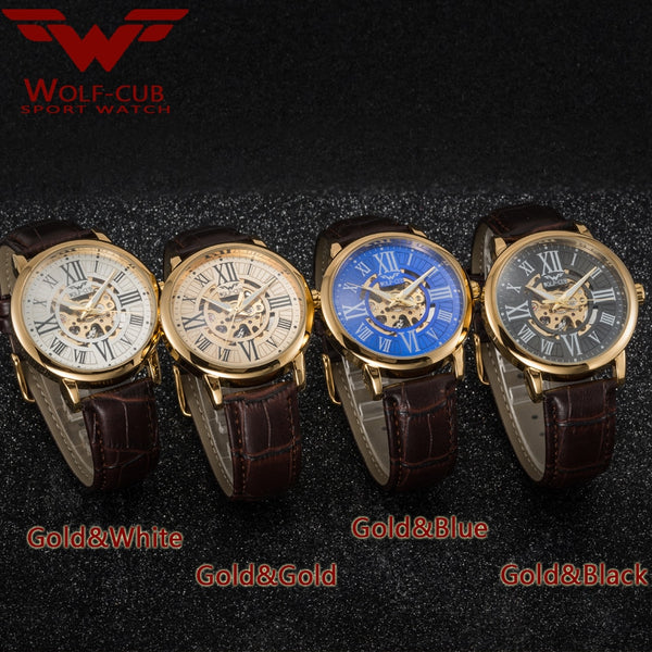 Men's Mechanical 3bar Waterproof Male Wrist Wristwatch Leather Strap Business Mechanical Wristwatch WOLF-CUB