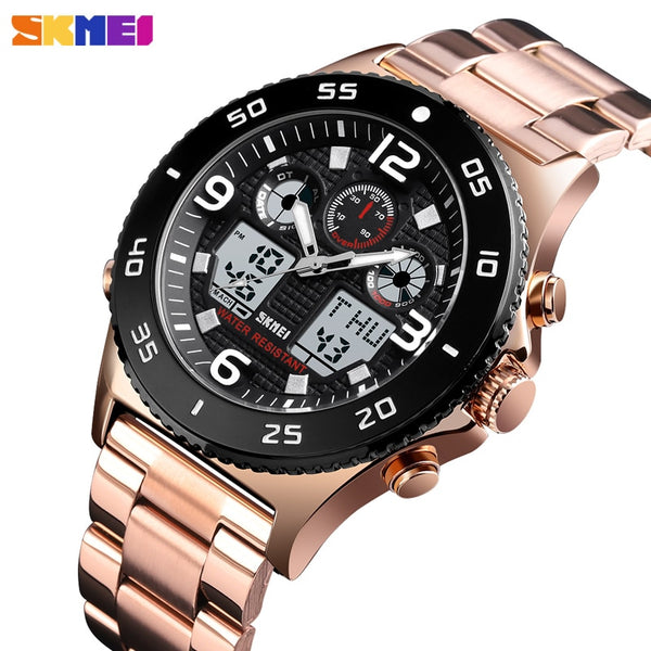 Brand SKMEI Men's Digital Wristwatch Luxury 3 time Chronograph Stopwatch Bracelet For Men Luminous Display Mens Waterproof Male