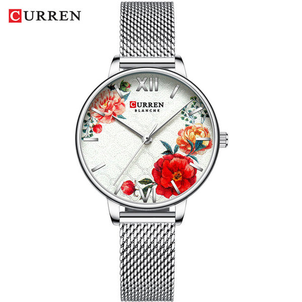 CURREN New Ladies Flower Watches Women Stainless Steel Bracelet Wristwatch Women's Fashion Quartz reloj mujer Casual