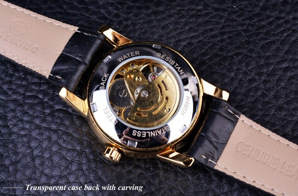 Forsining Hollow Engraving Skeleton Casual Designer Black Golden Case Gear Bezel Wristwatches Men Luxury Brand Automatic Wristwatches