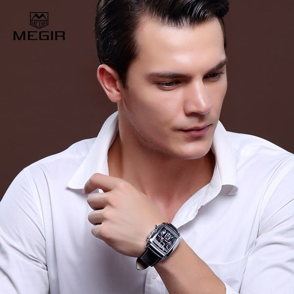 MEGIR new casual brand watches men hot fashion sport wristwatch man chronograph leather watch for male luminous calendar hour