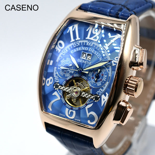 ACASENO utomatic Mechanical Men Watch Fashion Skeleton Leather Wrist Watch Mens Top Brand Luxury Tourbillon Watch Classic Men CASENO