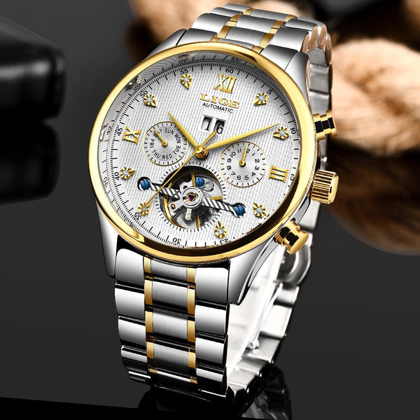 LIGE Mens Wristwatches Top Brand Luxury Male All Steel Military Waterproof Fashion Business Automatic Mechanical Wristwatch Montre Homme