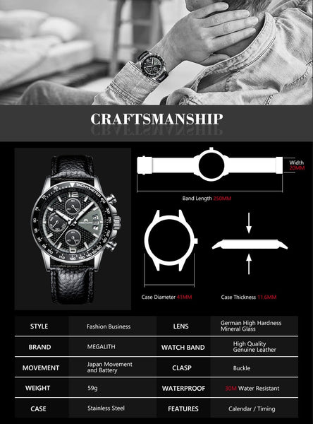 MEGALITH Men Sport Chronograph Watches Waterproof Date Calendar Quartz Watches Mens Fashion Casual Leather Strap Wirst Watch Men