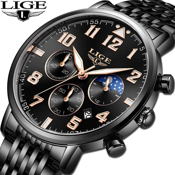 LIGE Hot Fashion Stainless Steel watch men Chronograph Sports Casual Quartz Wristwatch Business Mens Wristwatches Waterproof