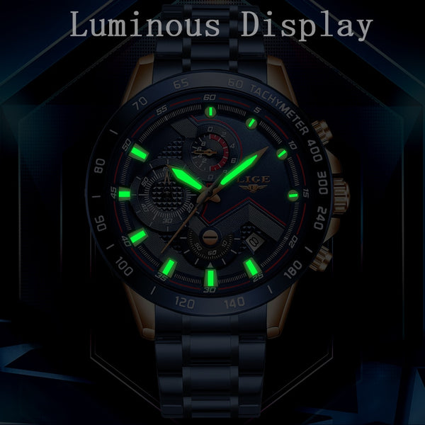 LIGE New Business Men Wristwatch Luxury Brand Stainless Steel Wrist Wristwatch Chronograph Army Military Quartz Wristwatches