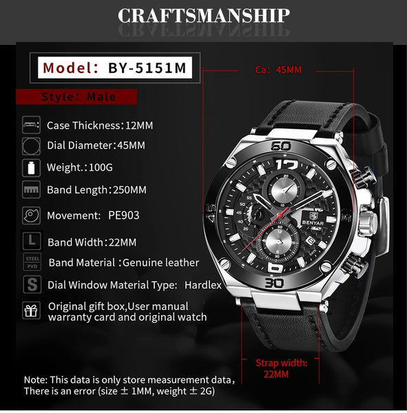 BENYAR Top Luxury Brand Wristwatch Men Analog Chronograph Quartz Wrist Wristwatch leather Band Wristwatch Auto Date