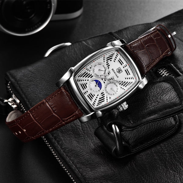 BENYAR Chronograph Men's Wristwatches Classic Rectangle Waterproof Leather Quartz Men Wristwatch Luxury Fashion Sport relogios masculinos