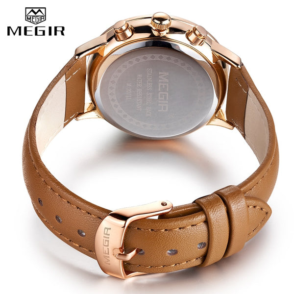 MEGIR Luxury Women Quartz Wristwatch Top Brand Ladies Chronograph Ultra Thin Wristwatches Lady Waterproof Clock Bracelet Wristwatch Woman