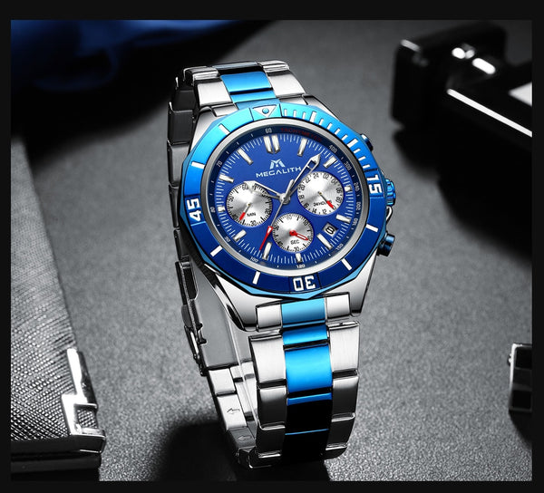 Reloj Hombre 2019 MEGALITH New Mens Watches Top Brand Luxury Waterproof Luminous Chronograph Quartz Men