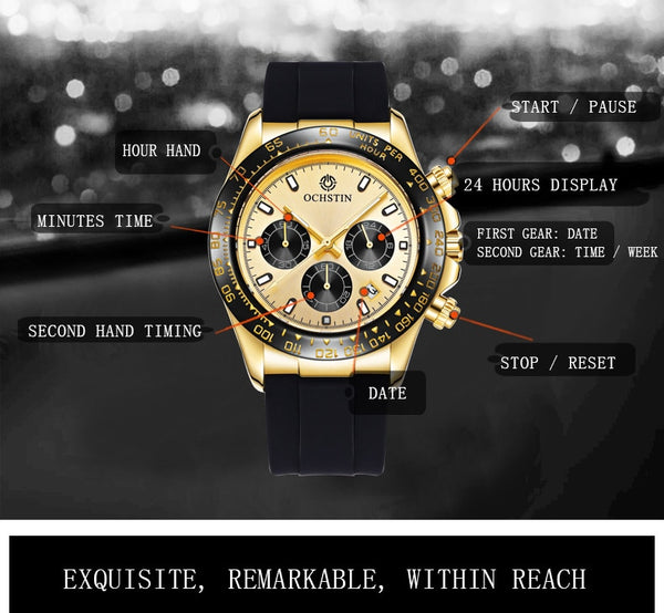Men Watch OCHSTIN Top Luxury Brand Designer Quartz-watch Silicone Business Black Sport Military Quartz Watch Male Wristwatches