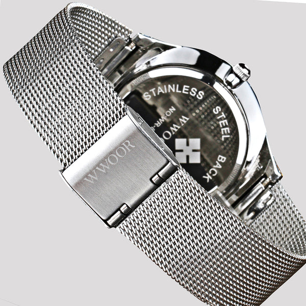 WWOOR New Top Luxury Wristwatch Men Brand Men's Wristwatches Ultra Thin Stainless Steel Mesh Band Quartz Wristwatch Fashion casual Wristwatches