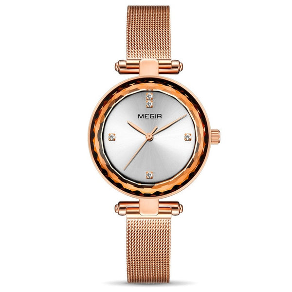 New MEGIR Luxury Women Wristwatches with Brass Case and Steel Mesh Strap Waterproof Fashion Ladies Lovers Wrist Wristwatch for Girls
