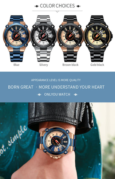 CURREN New Top Brand Men Wristwatches Men's Full Steel Waterproof Casual Quartz Date Male Wrist watch relogio masculino