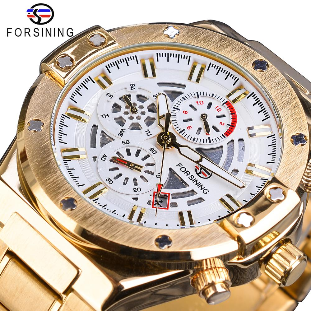 Forsining Gold Mens Mechanical Wristwatch Automatic 3 Sub Dial Calendar Sport Army Waterproof Full Steel Band