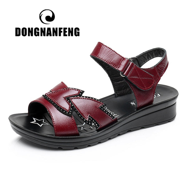 DONGNANFENG Women Flats Sandals Cow Genuine Leather PU Casual Beach Hook Loop Summer Size 35-41 HD-B03