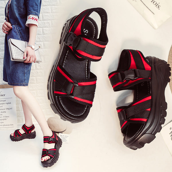 Binhbet Summer Women Sandals Buckle Design Black Red Platform Sandals Comfortable Women Thick Sole Beach Shoes