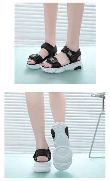 Binhbet Women Sandals 2019 Platform Sandals Wedges Shoes For Women High Heels Sandalias Mujer Summer Shoes Leather Wedge Heels Sandals