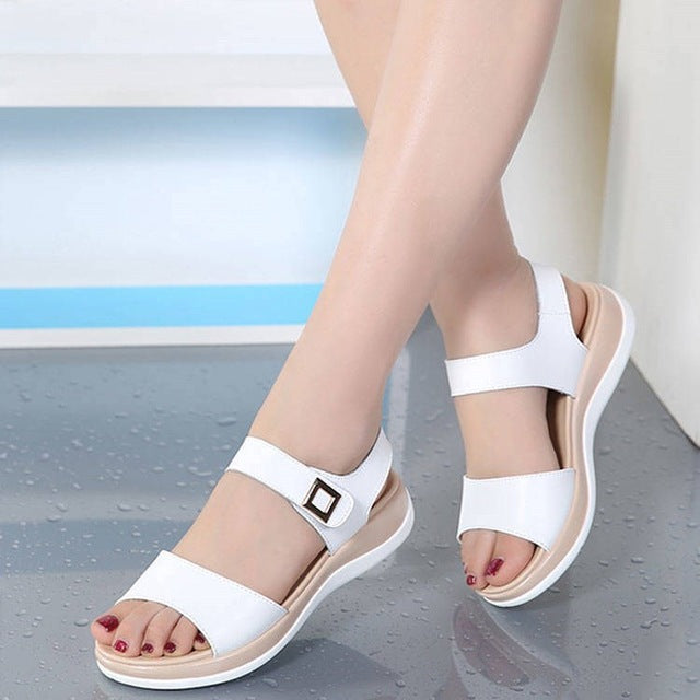 Binhbet 2019 Summer shoes woman Platform Sandals Women Soft Leather Casual Open Toe Gladiator wedges Trifle Mujer Women Shoes Flats